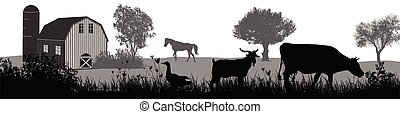 Farm animals silhouette on beautiful rural landscape