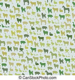 Farm animals silhouette seamless pattern. Zoo animals in cartoon style for food wrapping design.