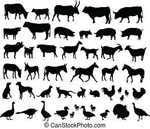 farm animals silhouettes - vector