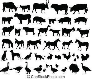 farm animals silhouettes - vector