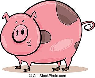 Farm animals: spotted pig - Cartoon illustration of funny...