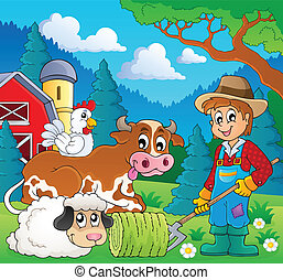 Farm animals theme image 9 - eps10 vector illustration.