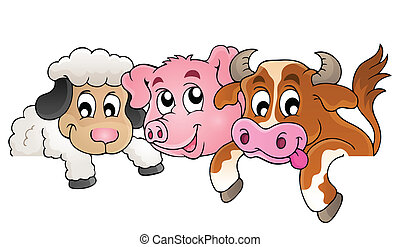 Farm animals topic image 1 - eps10 vector illustration.