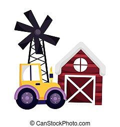 farm animals tractor barn windmill agriculture cartoon