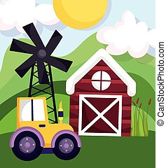 farm animals tractor barn windmill field cartoon