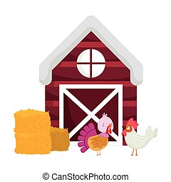 farm animals turkey and rooster hay barn windmill cartoon