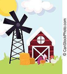 farm animals turkey and rooster hay barn windmill grass cartoon