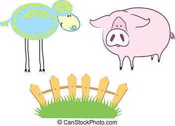 Farm Animals - Vector cartoons domestic animals on summer ...