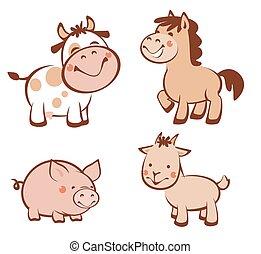 Farm animals - Set of farm animals isolated on white...