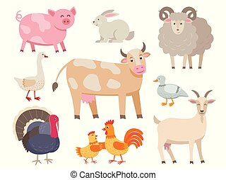 Farm animals vector flat collection isolated on white background. Set of animals includes cow, pig, goat, sheep, turkey, rabbit, duck, hen, rooster and goose in cartoon design.
