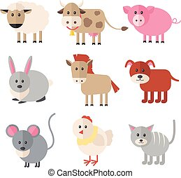 Farm animals. Vector flat icon set