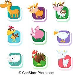 farm animals - vector icon