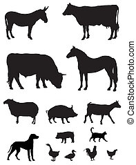 Vector illustration of various farm animals silhouettes
