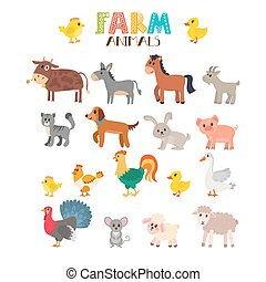 Farm animals vector set. Cute cartoon animals