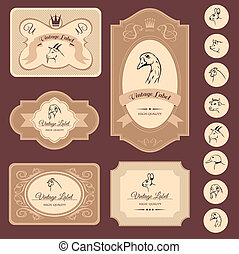 farm animals, vintage frame, labels food illustration