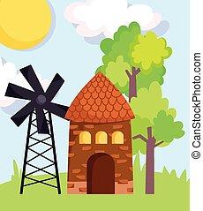 farm animals windmill barn trees grass cartoon