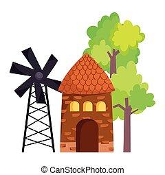 farm animals windmill barn trees outside cartoon