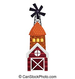 farm animals windmill house barn cartoon design