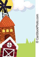 farm animals windmill house barn grass cartoon design