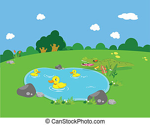 Farm animals with ducks and alligat