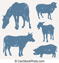 Farm animals with grunge effect