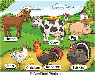 Farm animals with names cartoon educational