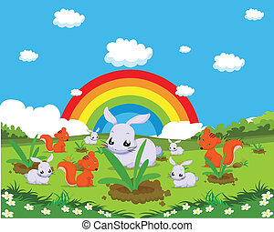 Farm animals with rabbits