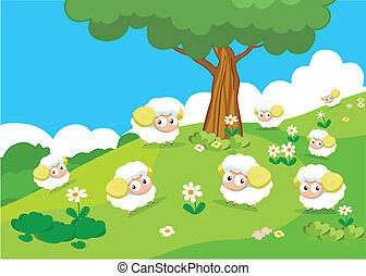 Farm animals with sheeps