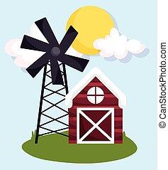farm animals wooden barn and windmill grass cartoon