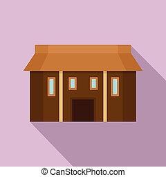 Farm asia house icon, flat style