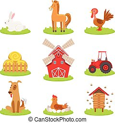 Farm Associated Animals And Objects Collection. Cute Simple Design Illustrations In Bright Color Isolated On White Background.