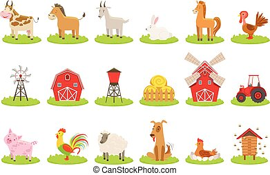 Farm Associated Animals And Objects Set. Cute Simple Design Illustrations In Bright Color Isolated On White Background.