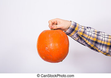 Farm, autumn and harvest concept - pumpkin in man's hand over white background with copy space
