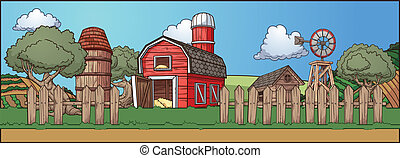 Farm background. Grass can be used in a seamless loop. All...
