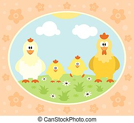 Farm background with funny chicken