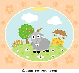 Farm background with goat