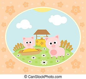 Farm background with pig