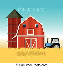 Farm banner with tractor