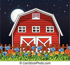 Farm barn and flowers at night scene