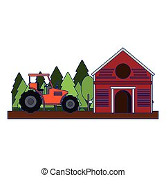 Farm barn and tractor in nature blue lines