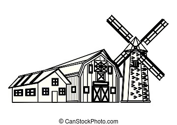 farm barn and windmill black and white