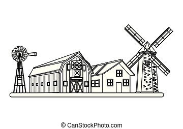 farm barn and windmill wind turbine black and white