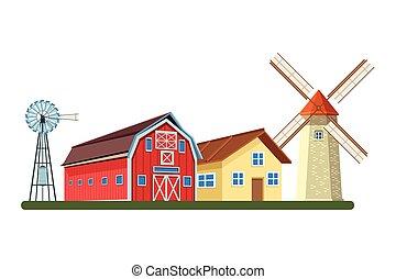 farm barn and windmill wind turbine