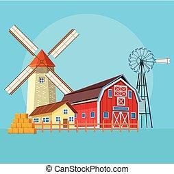 Farm barn cartoon