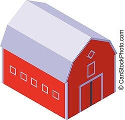 Farm barn icon, isometric style