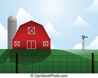 Farm - Barn, silo and windmill on an open, rolling plain