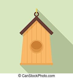 Farm bird house icon, flat style