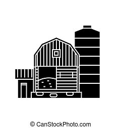 Farm black icon concept. Farm  vector sign, symbol, illustration.