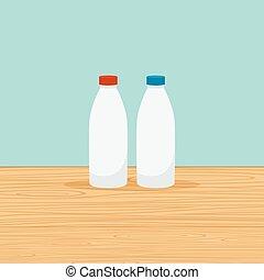 Farm bottles of milk