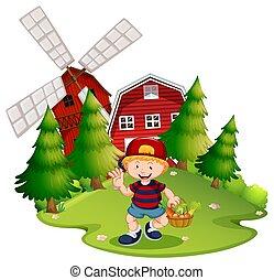Farm boy with windmill